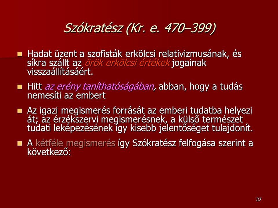 37 Szókratész (Kr. e. 470–399) Hadat üzent a szofisták erkölcsi relativizmusának, és síkra szállt az örök erkölcsi értékek jogainak visszaállításáért.