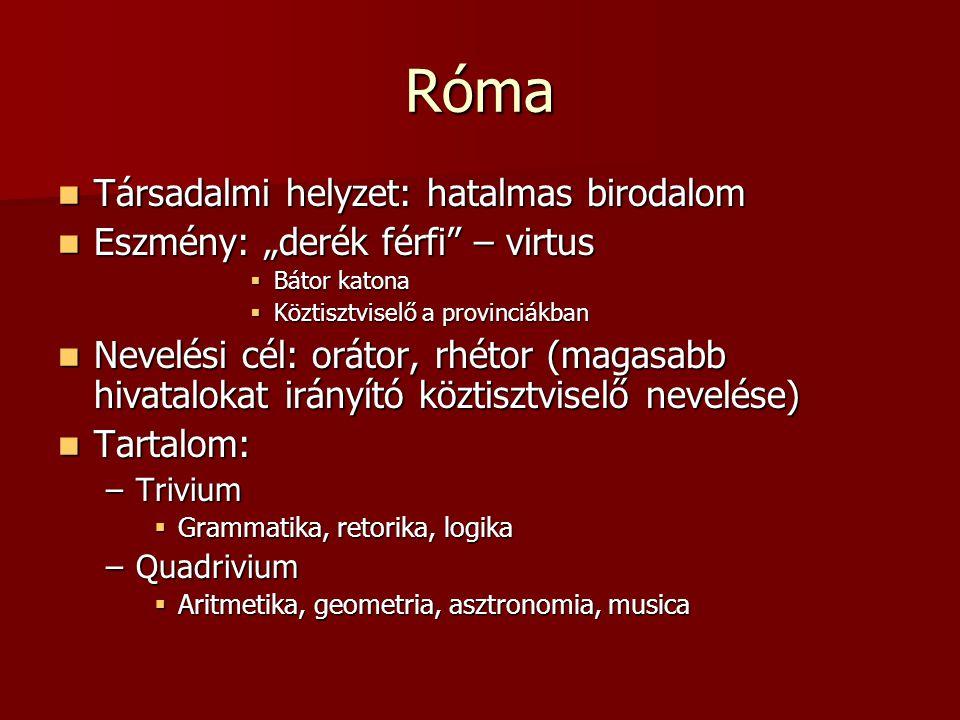 """Róma Társadalmi helyzet: hatalmas birodalom Társadalmi helyzet: hatalmas birodalom Eszmény: """"derék férfi"""" – virtus Eszmény: """"derék férfi"""" – virtus  B"""