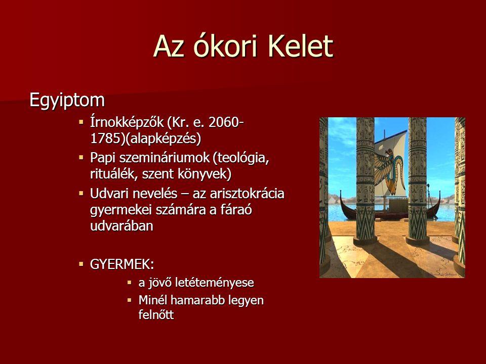 Az ókori Kelet Egyiptom  Írnokképzők (Kr. e. 2060- 1785)(alapképzés)  Papi szemináriumok (teológia, rituálék, szent könyvek)  Udvari nevelés – az a