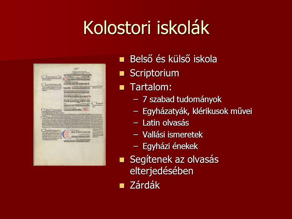 Kolostori iskolák Belső és külső iskola Belső és külső iskola Scriptorium Scriptorium Tartalom: Tartalom: –7 szabad tudományok –Egyházatyák, klérikuso
