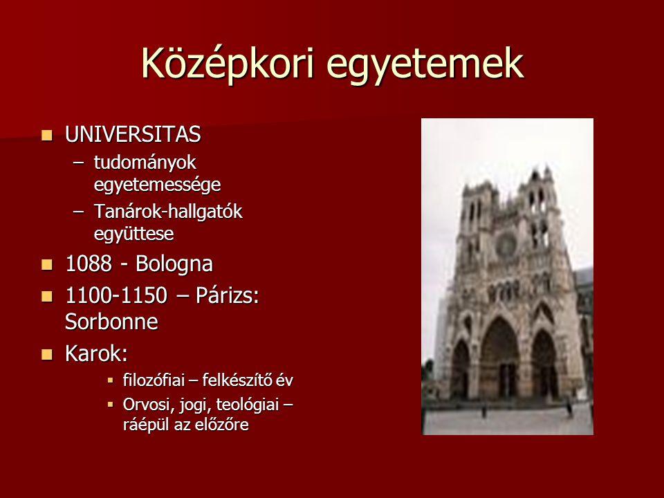 Középkori egyetemek UNIVERSITAS UNIVERSITAS –tudományok egyetemessége –Tanárok-hallgatók együttese 1088 - Bologna 1088 - Bologna 1100-1150 – Párizs: S