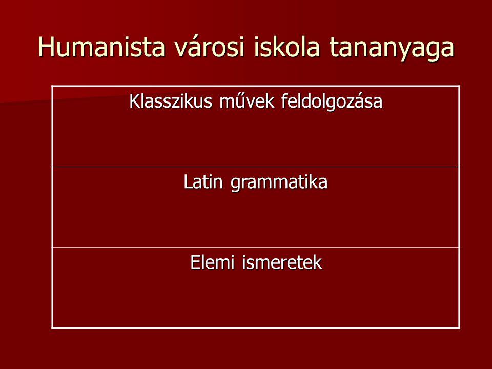 Humanista városi iskola tananyaga Klasszikus művek feldolgozása Latin grammatika Elemi ismeretek