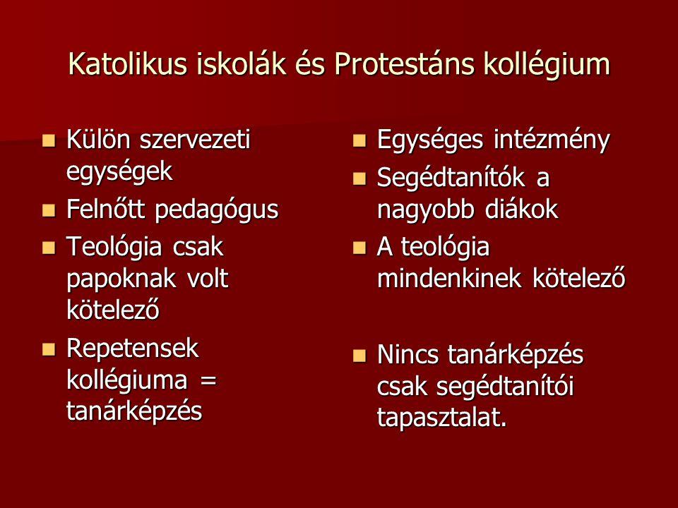 Katolikus iskolák és Protestáns kollégium Külön szervezeti egységek Külön szervezeti egységek Felnőtt pedagógus Felnőtt pedagógus Teológia csak papokn