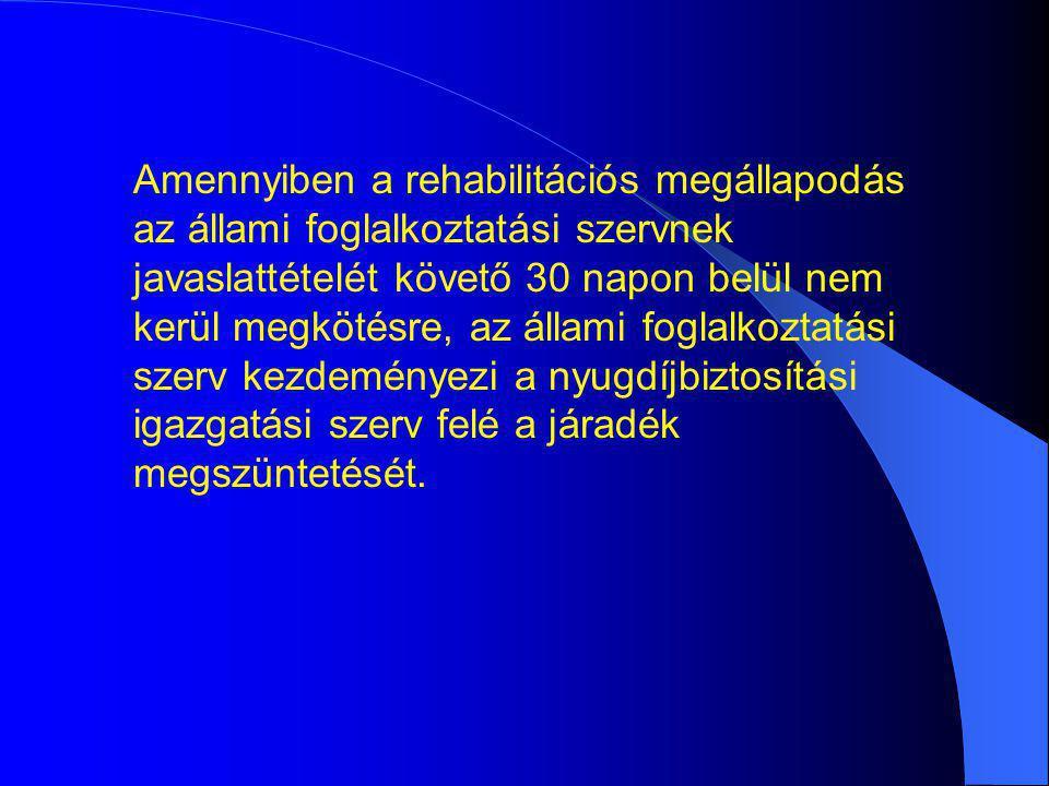 Amennyiben a rehabilitációs megállapodás az állami foglalkoztatási szervnek javaslattételét követő 30 napon belül nem kerül megkötésre, az állami fogl