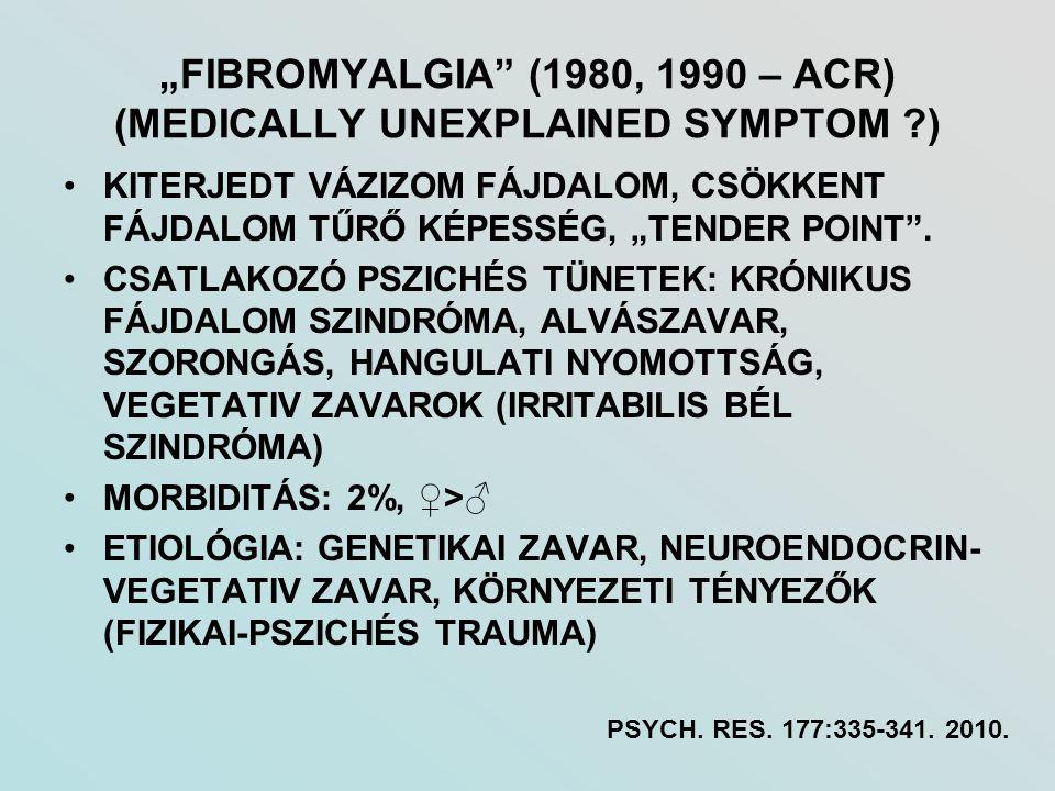 """""""FIBROMYALGIA"""" (1980, 1990 – ACR) (MEDICALLY UNEXPLAINED SYMPTOM ?) KITERJEDT VÁZIZOM FÁJDALOM, CSÖKKENT FÁJDALOM TŰRŐ KÉPESSÉG, """"TENDER POINT"""". CSATL"""