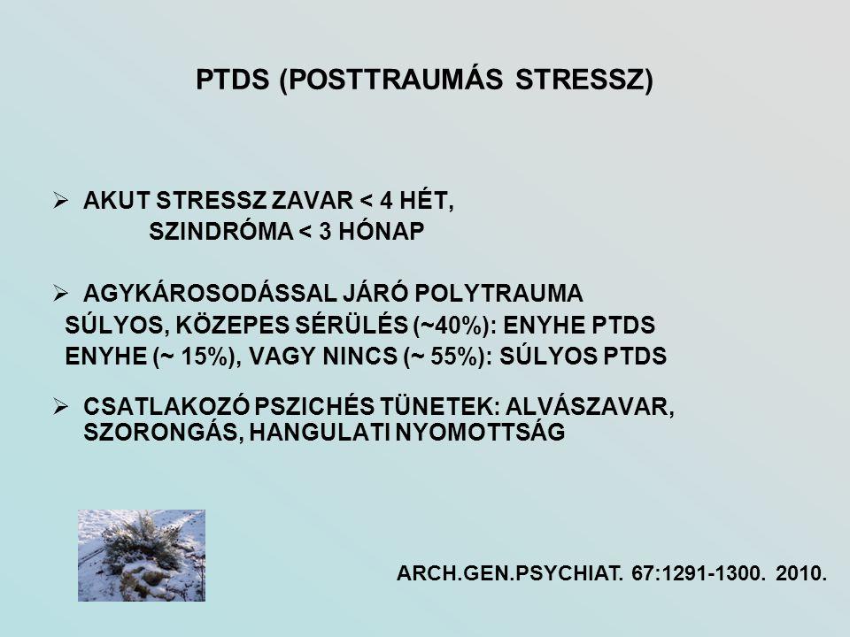 PTDS (POSTTRAUMÁS STRESSZ)  AKUT STRESSZ ZAVAR < 4 HÉT, SZINDRÓMA < 3 HÓNAP  AGYKÁROSODÁSSAL JÁRÓ POLYTRAUMA SÚLYOS, KÖZEPES SÉRÜLÉS (~40%): ENYHE P