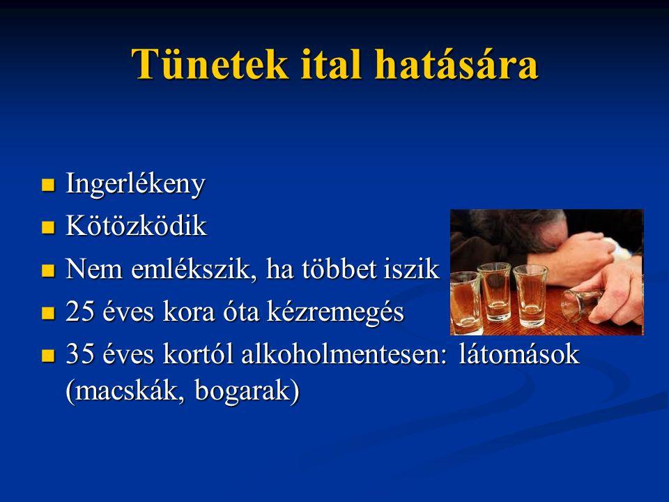 Tünetek ital hatására Ingerlékeny Ingerlékeny Kötözködik Kötözködik Nem emlékszik, ha többet iszik Nem emlékszik, ha többet iszik 25 éves kora óta kéz
