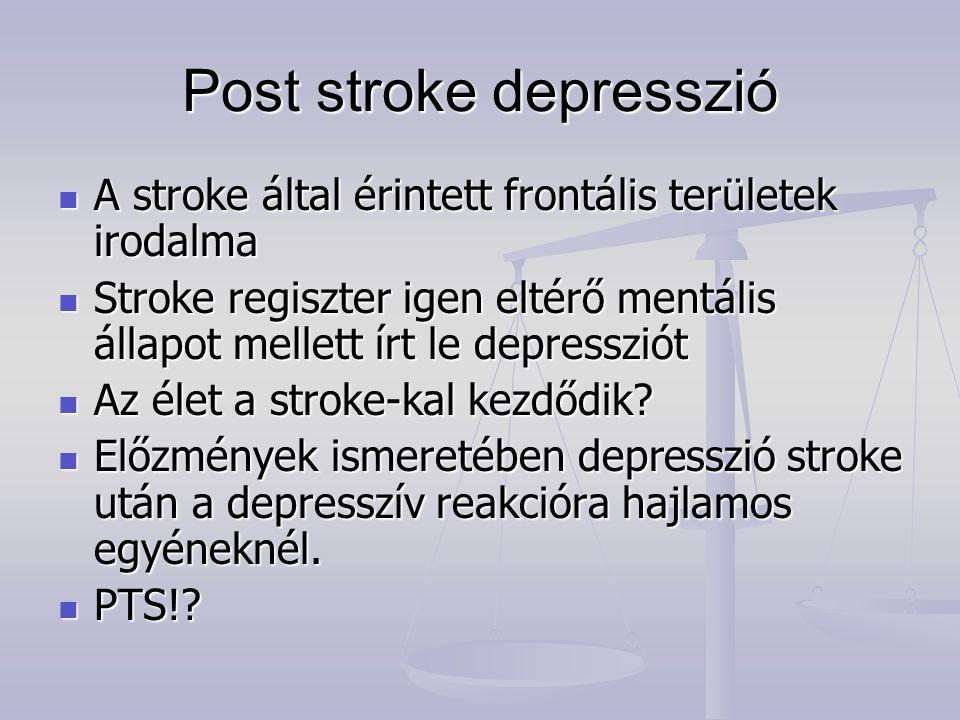 Post stroke depresszió A stroke által érintett frontális területek irodalma A stroke által érintett frontális területek irodalma Stroke regiszter igen