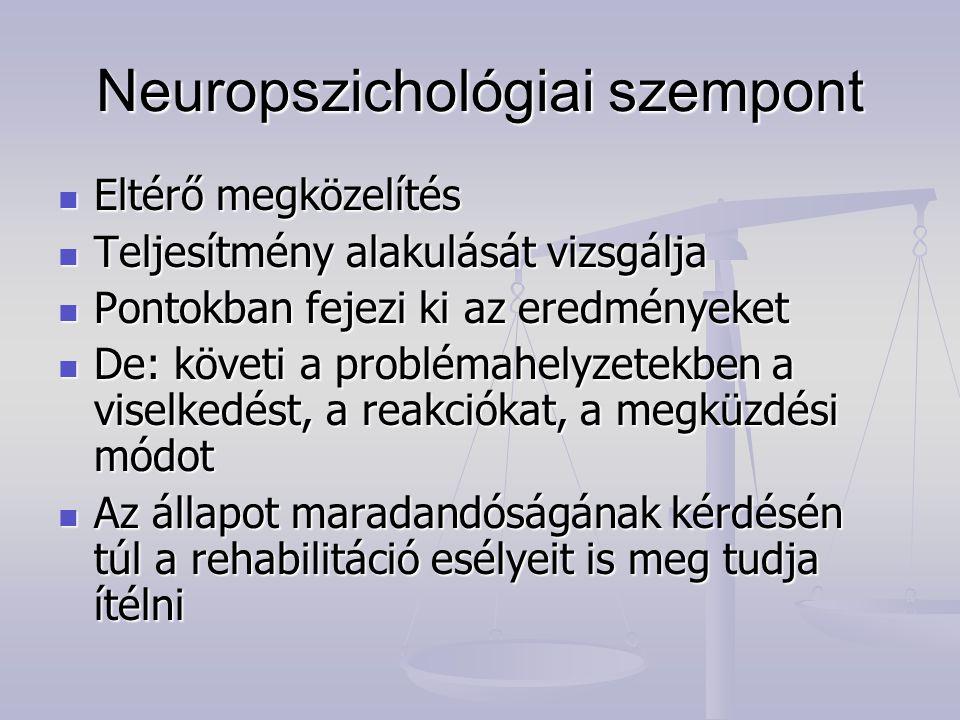 Neuropszichológiai szempont Eltérő megközelítés Eltérő megközelítés Teljesítmény alakulását vizsgálja Teljesítmény alakulását vizsgálja Pontokban feje