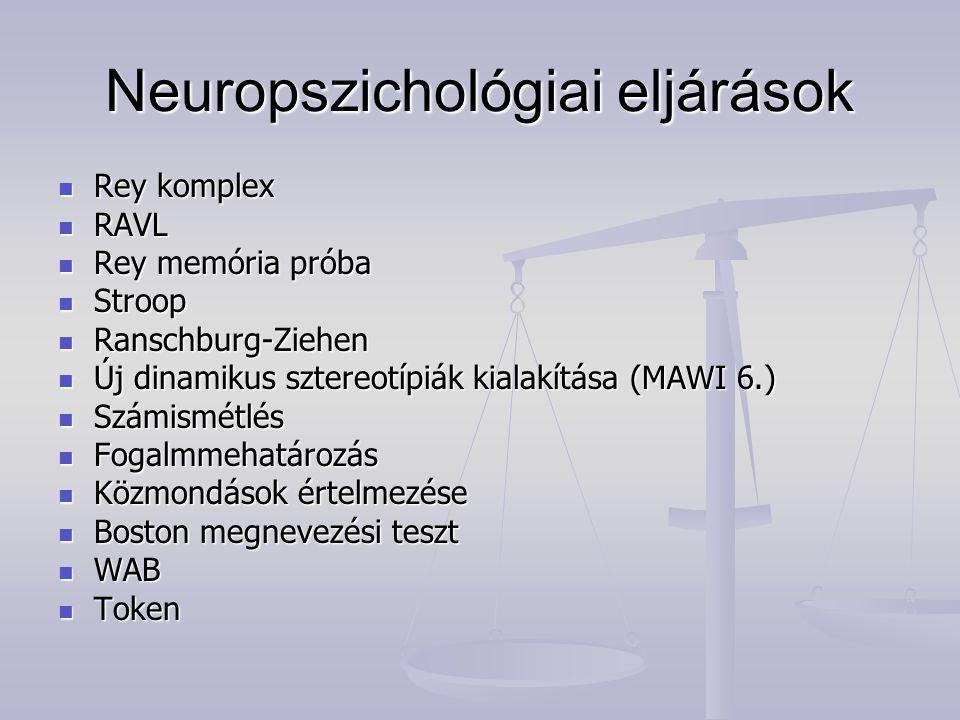 Neuropszichológiai eljárások Rey komplex Rey komplex RAVL RAVL Rey memória próba Rey memória próba Stroop Stroop Ranschburg-Ziehen Ranschburg-Ziehen Ú