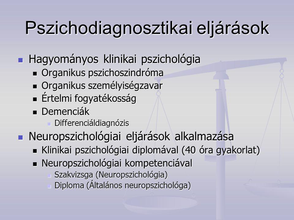 Neuropszichológiai vizsgálat a szakértésben Kártérítési perek Kártérítési perek Maradandó károsodás Maradandó károsodás Rehabilitálhatóság Rehabilitálhatóság Következményes állapotok megítélése Következményes állapotok megítélése Önálló életvitel, felelősségvállalás képességének megítélése, saját tette következményének mérlegelési képessége (belátás megítélése nem pszichológiai kompetencia!) Önálló életvitel, felelősségvállalás képességének megítélése, saját tette következményének mérlegelési képessége (belátás megítélése nem pszichológiai kompetencia!)