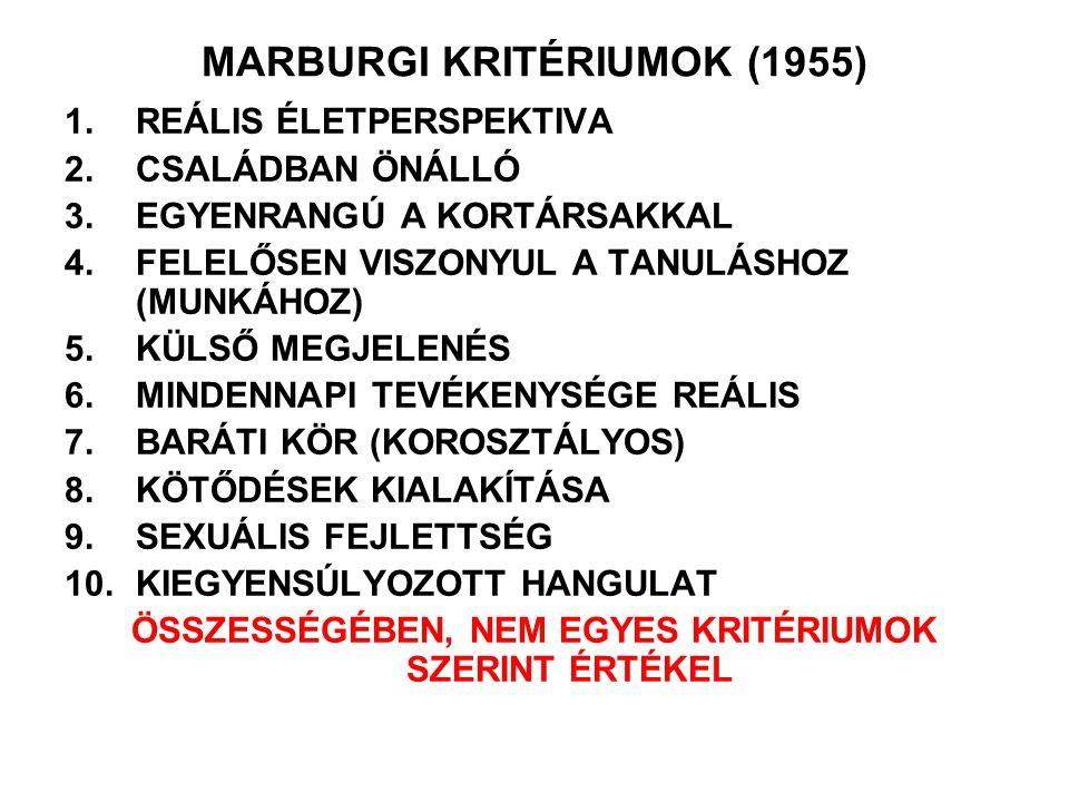 MARBURGI KRITÉRIUMOK (1955) 1.REÁLIS ÉLETPERSPEKTIVA 2.CSALÁDBAN ÖNÁLLÓ 3.EGYENRANGÚ A KORTÁRSAKKAL 4.FELELŐSEN VISZONYUL A TANULÁSHOZ (MUNKÁHOZ) 5.KÜ