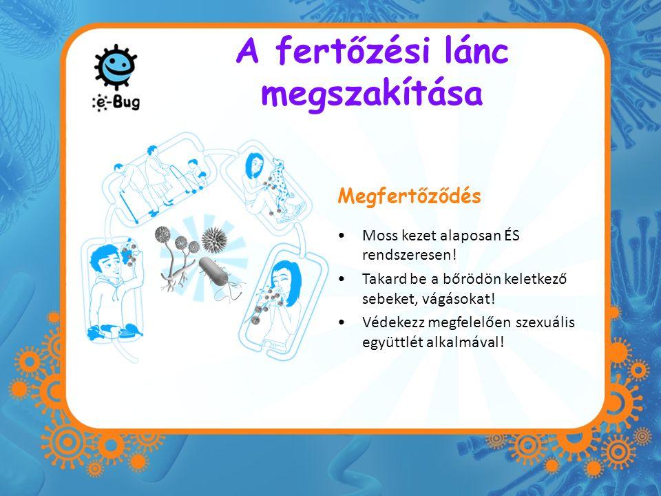 A fertőzési lánc megszakítása Megfertőződés Moss kezet alaposan ÉS rendszeresen! Takard be a bőrödön keletkező sebeket, vágásokat! Védekezz megfelelőe