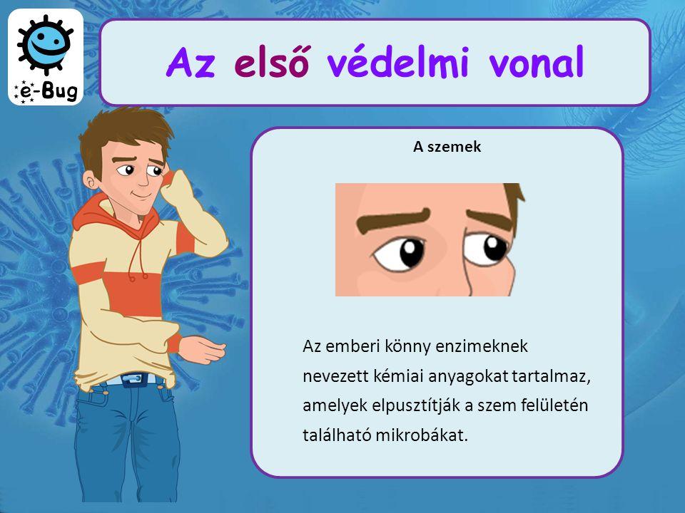 A szemek Az emberi könny enzimeknek nevezett kémiai anyagokat tartalmaz, amelyek elpusztítják a szem felületén található mikrobákat.