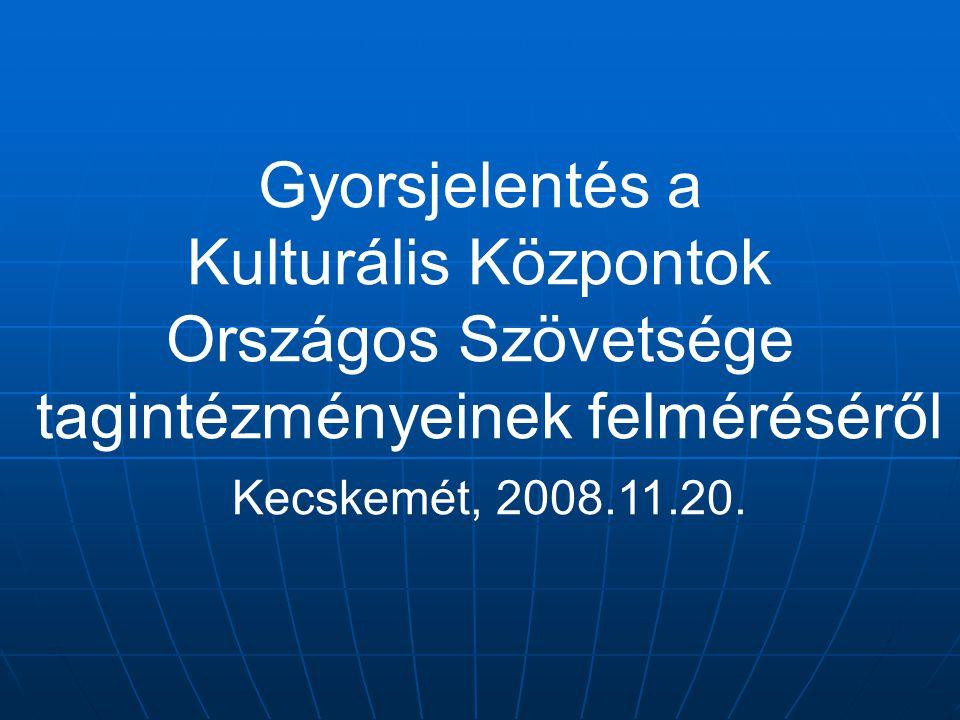 Gyorsjelentés a Kulturális Központok Országos Szövetsége tagintézményeinek felméréséről Kecskemét, 2008.11.20.