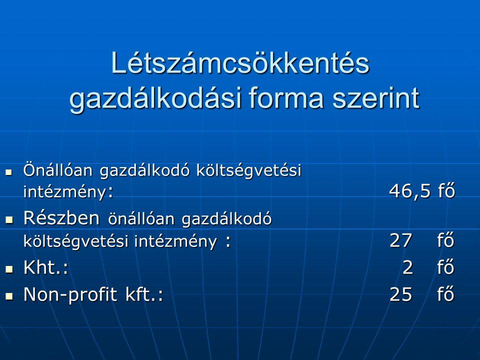 Létszámcsökkentés gazdálkodási forma szerint Önállóan gazdálkodó költségvetési intézmény :46,5 fő Önállóan gazdálkodó költségvetési intézmény :46,5 fő Részben önállóan gazdálkodó költségvetési intézmény :27 fő Részben önállóan gazdálkodó költségvetési intézmény :27 fő Kht.: 2 fő Kht.: 2 fő Non-profit kft.:25 fő Non-profit kft.:25 fő