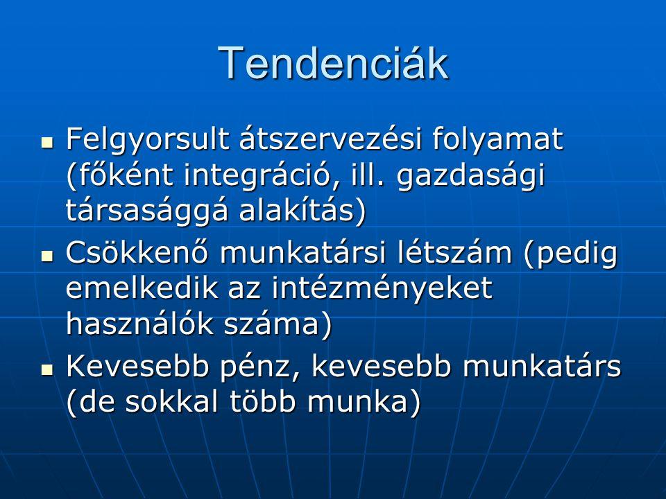 Tendenciák Felgyorsult átszervezési folyamat (főként integráció, ill.