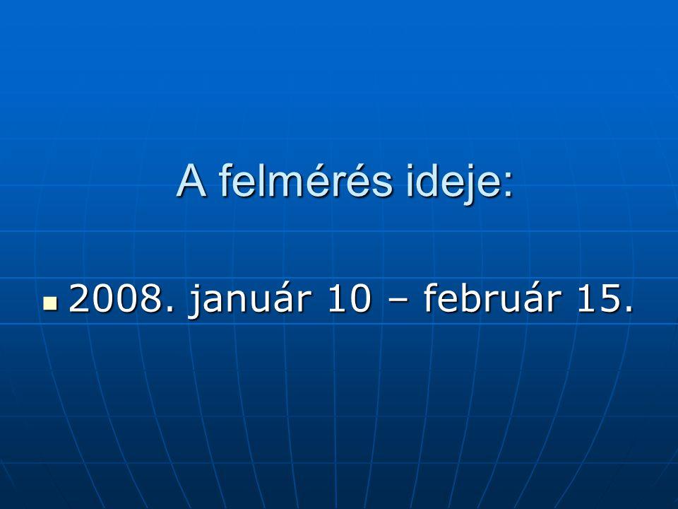 A felmérés ideje: 2008. január 10 – február 15. 2008. január 10 – február 15.