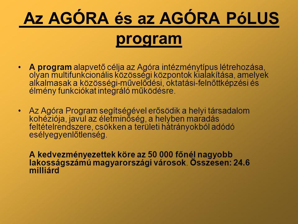 Az AGÓRA és az AGÓRA PóLUS program A program alapvető célja az Agóra intézménytípus létrehozása, olyan multifunkcionális közösségi központok kialakítása, amelyek alkalmasak a közösségi-művelődési, oktatási-felnőttképzési és élmény funkciókat integráló működésre.