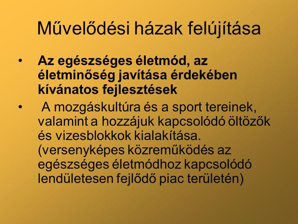 Művelődési házak felújítása Az egészséges életmód, az életminőség javítása érdekében kívánatos fejlesztések A mozgáskultúra és a sport tereinek, valam