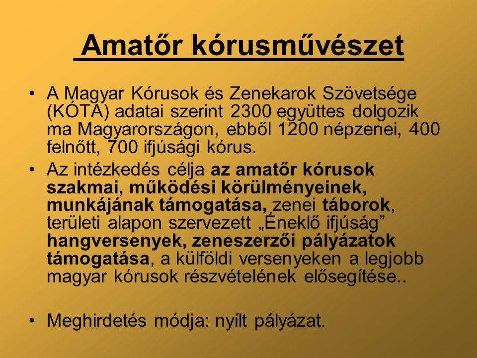 Amatőr kórusművészet A Magyar Kórusok és Zenekarok Szövetsége (KÓTA) adatai szerint 2300 együttes dolgozik ma Magyarországon, ebből 1200 népzenei, 400 felnőtt, 700 ifjúsági kórus.