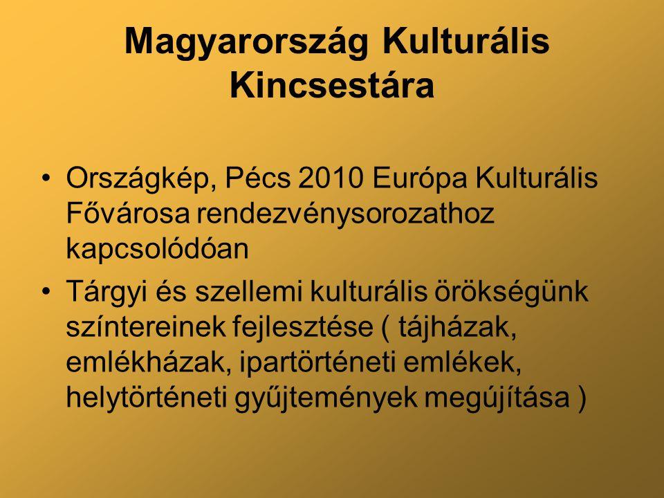 Magyarország Kulturális Kincsestára Országkép, Pécs 2010 Európa Kulturális Fővárosa rendezvénysorozathoz kapcsolódóan Tárgyi és szellemi kulturális örökségünk színtereinek fejlesztése ( tájházak, emlékházak, ipartörténeti emlékek, helytörténeti gyűjtemények megújítása )