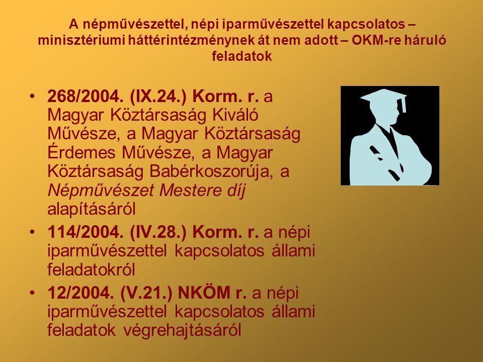 A népművészettel, népi iparművészettel kapcsolatos – minisztériumi háttérintézménynek át nem adott – OKM-re háruló feladatok 268/2004. (IX.24.) Korm.