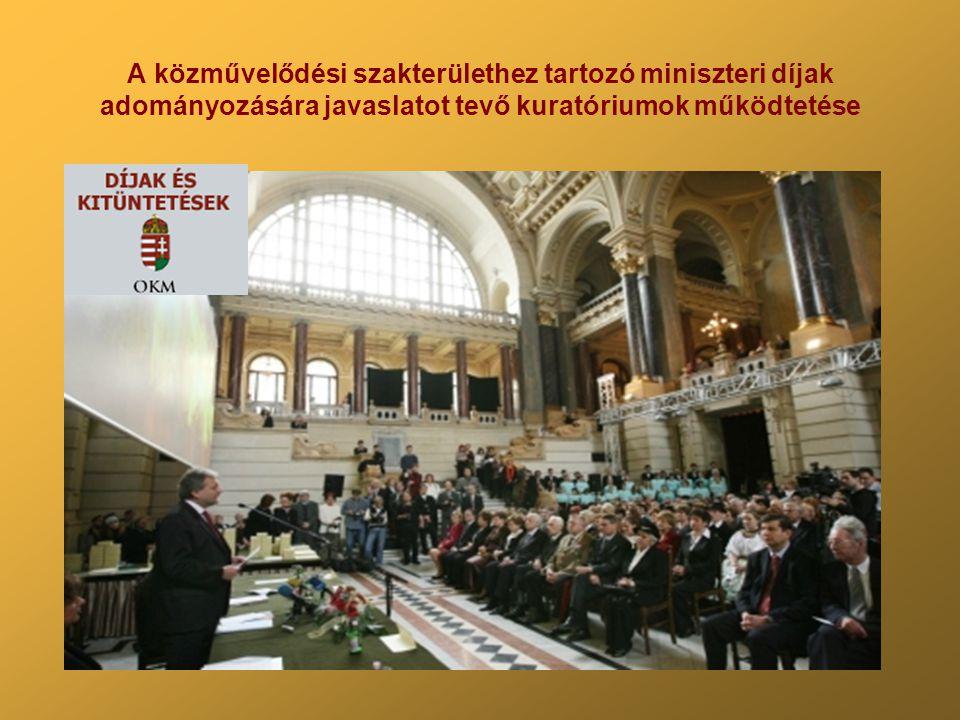 A közművelődési szakterülethez tartozó miniszteri díjak adományozására javaslatot tevő kuratóriumok működtetése