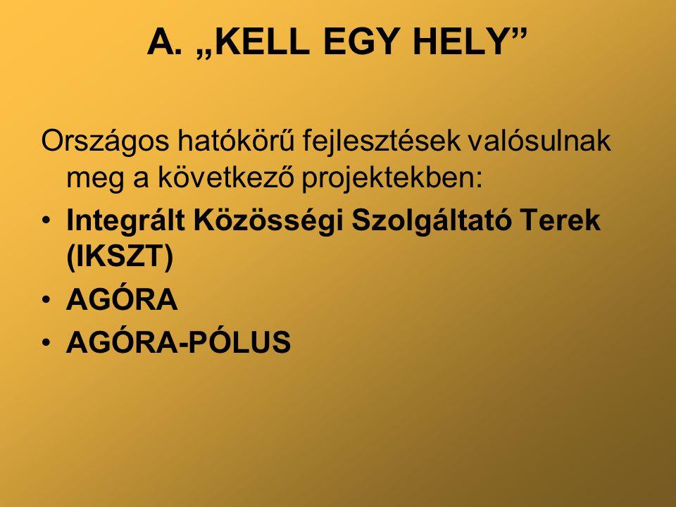 """A. """"KELL EGY HELY"""" Országos hatókörű fejlesztések valósulnak meg a következő projektekben: Integrált Közösségi Szolgáltató Terek (IKSZT) AGÓRA AGÓRA-P"""
