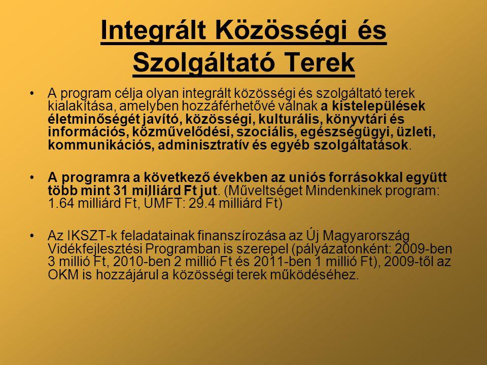 Integrált Közösségi és Szolgáltató Terek A program célja olyan integrált közösségi és szolgáltató terek kialakítása, amelyben hozzáférhetővé válnak a