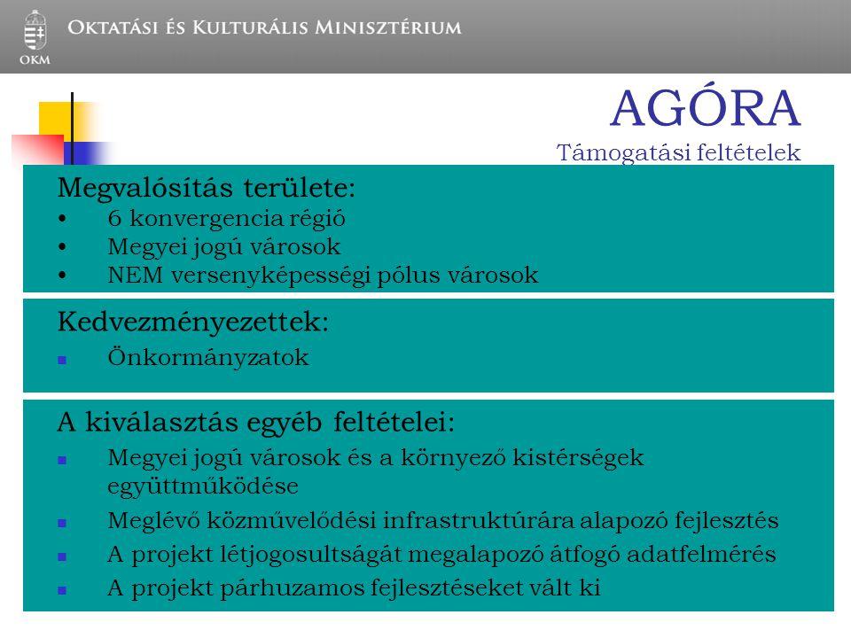 AGÓRA Támogatási feltételek Kedvezményezettek: Önkormányzatok Megvalósítás területe: 6 konvergencia régió Megyei jogú városok NEM versenyképességi pól