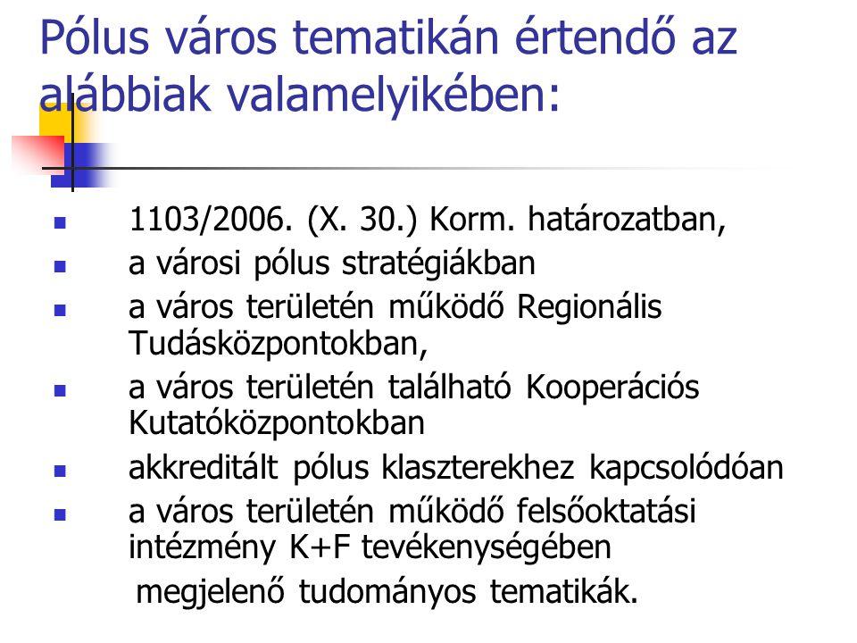 Pólus város tematikán értendő az alábbiak valamelyikében: 1103/2006. (X. 30.) Korm. határozatban, a városi pólus stratégiákban a város területén működ