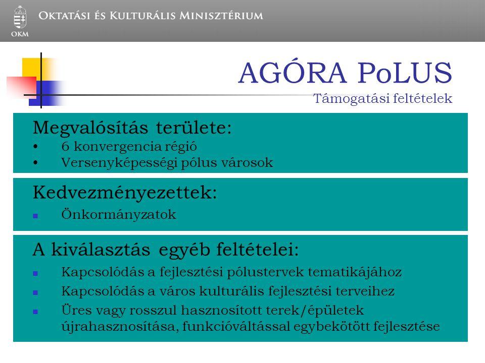 AGÓRA PoLUS Támogatási feltételek Megvalósítás területe: 6 konvergencia régió Versenyképességi pólus városok Kedvezményezettek: Önkormányzatok A kivál