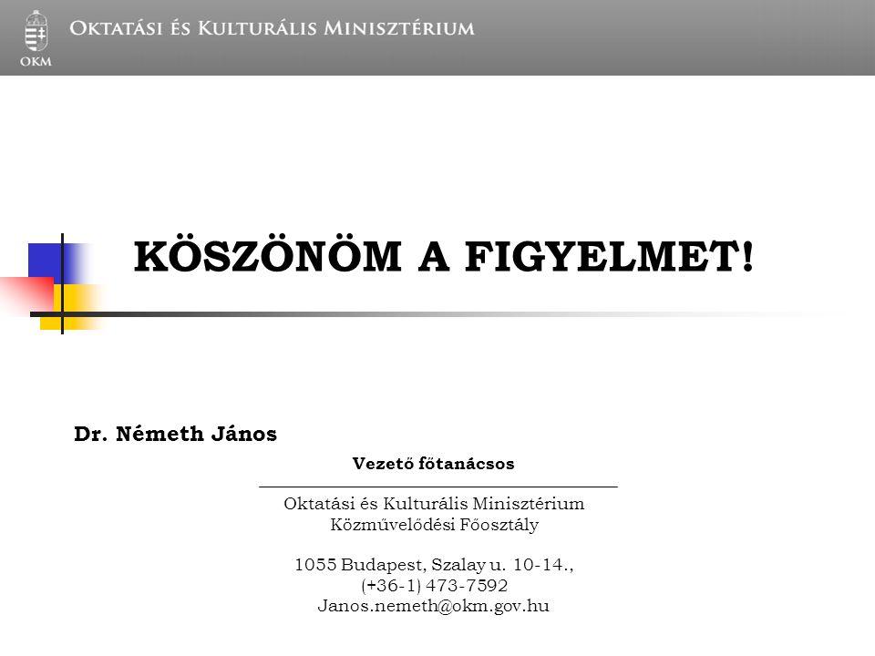 KULTURÁLIS SZAKÁLLAMTITKÁR TITKÁRSÁGA Dr. Németh János Vezető főtanácsos Oktatási és Kulturális Minisztérium Közművelődési Főosztály 1055 Budapest, Sz