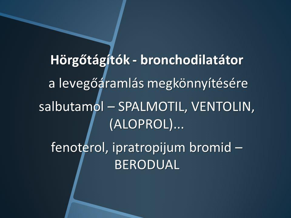 Hörgőtágítók - bronchodilatátor a levegőáramlás megkönnyítésére a levegőáramlás megkönnyítésére salbutamol – SPALMOTIL, VENTOLIN, (ALOPROL)... fenoter
