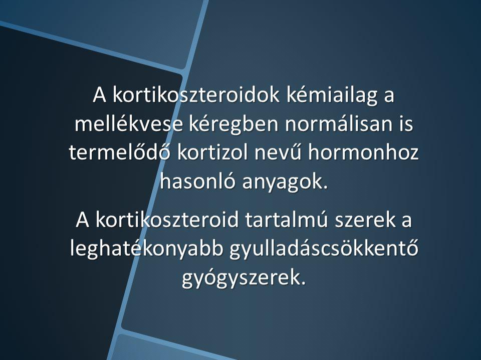A kortikoszteroidok kémiailag a mellékvese kéregben normálisan is termelődő kortizol nevű hormonhoz hasonló anyagok. A kortikoszteroid tartalmú szerek