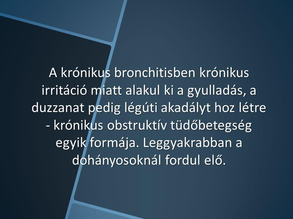 A krónikus bronchitisben krónikus irritáció miatt alakul ki a gyulladás, a duzzanat pedig légúti akadályt hoz létre - krónikus obstruktív tüdőbetegség