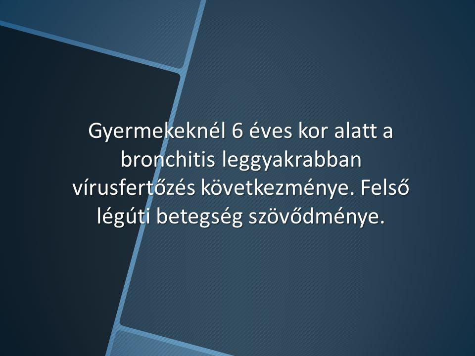 Gyermekeknél 6 éves kor alatt a bronchitis leggyakrabban vírusfertőzés következménye. Felső légúti betegség szövődménye.