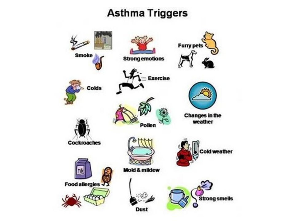 ...a légzési segédizmok használata (orrszárnyi légzés, bordaív alatti behúzódás), súlyos roham esetén elkékülés (cyanosis) és légzési elégtelenség.
