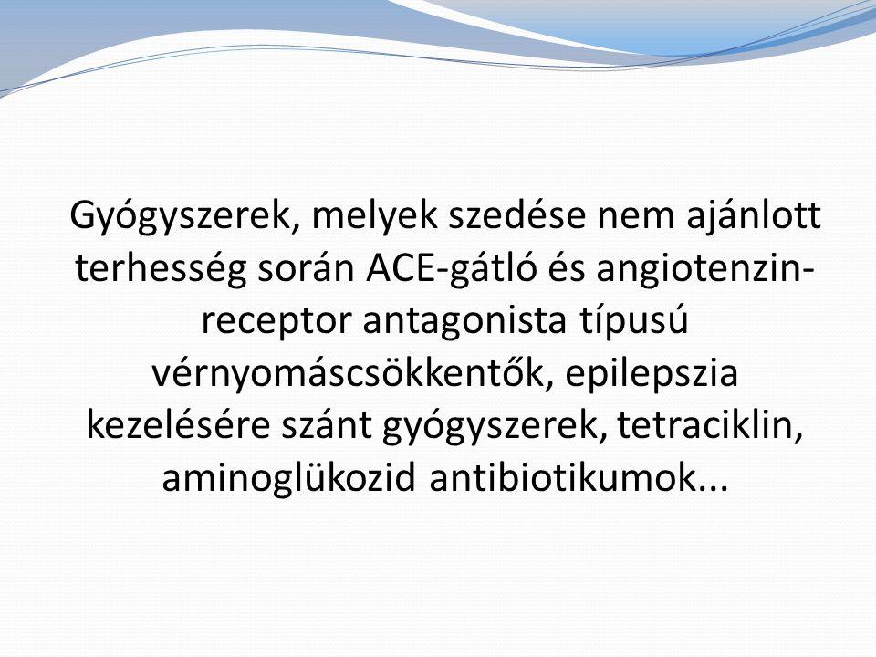 Gyógyszerek, melyek szedése nem ajánlott terhesség során ACE-gátló és angiotenzin- receptor antagonista típusú vérnyomáscsökkentők, epilepszia kezelésére szánt gyógyszerek, tetraciklin, aminoglükozid antibiotikumok...