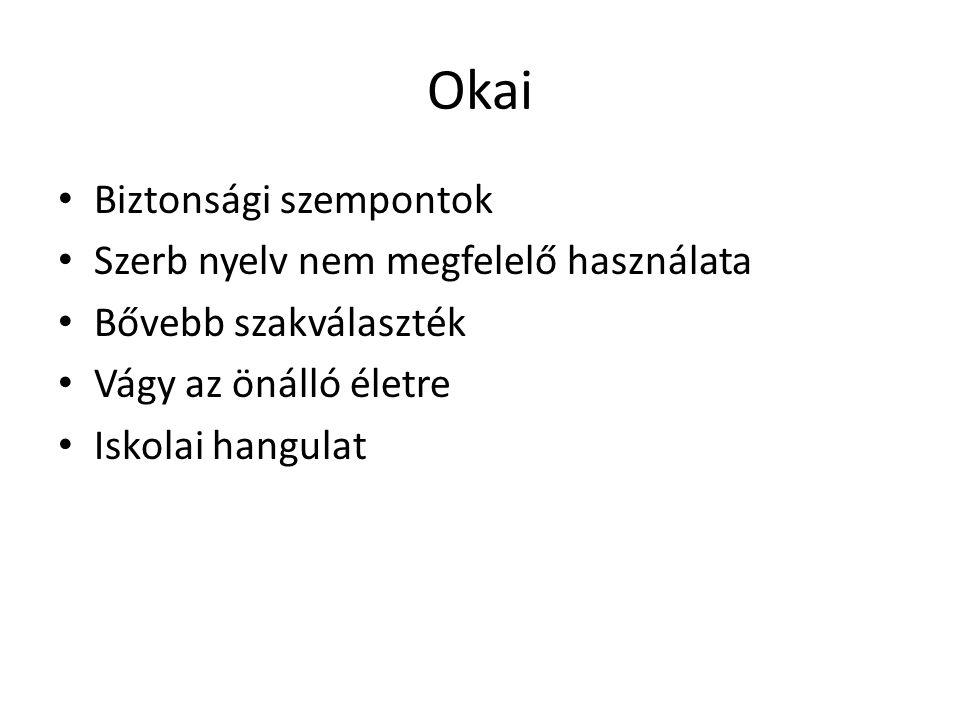 Következménye Más környezet, más feltételrendszer Új baráti, ismerőskör, új kapcsolatrendszer Magyar és idegen nyelv tanulása Más szemléletmód