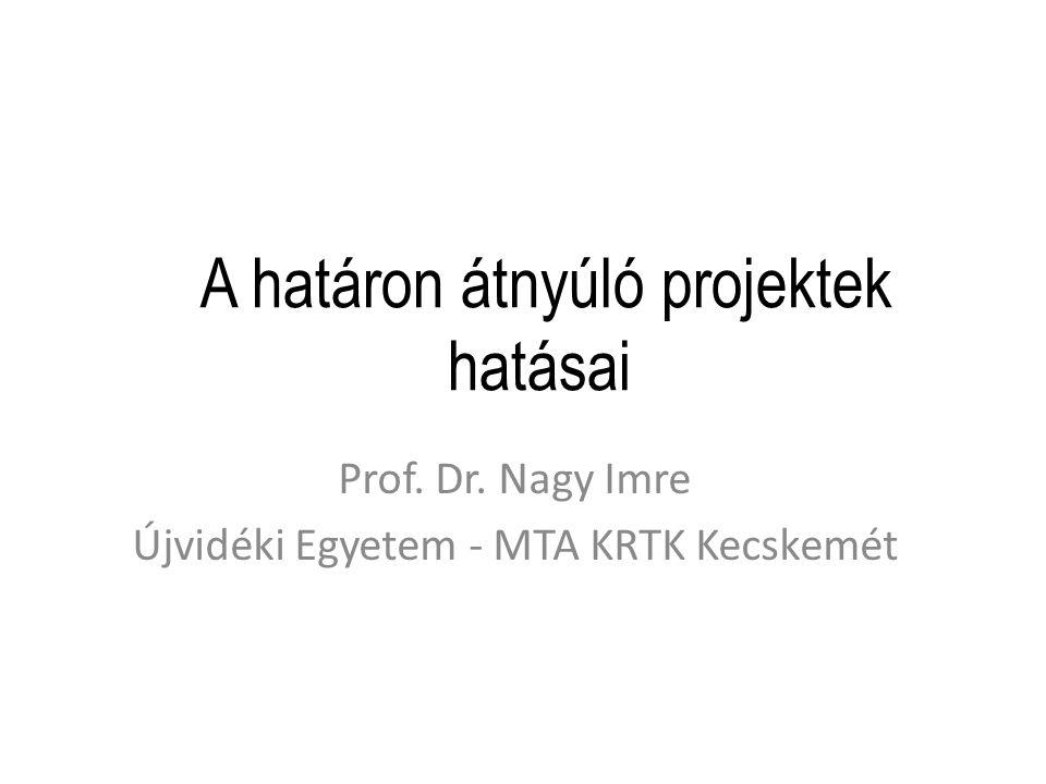 A határon átnyúló projektek hatásai Prof. Dr. Nagy Imre Újvidéki Egyetem - MTA KRTK Kecskemét