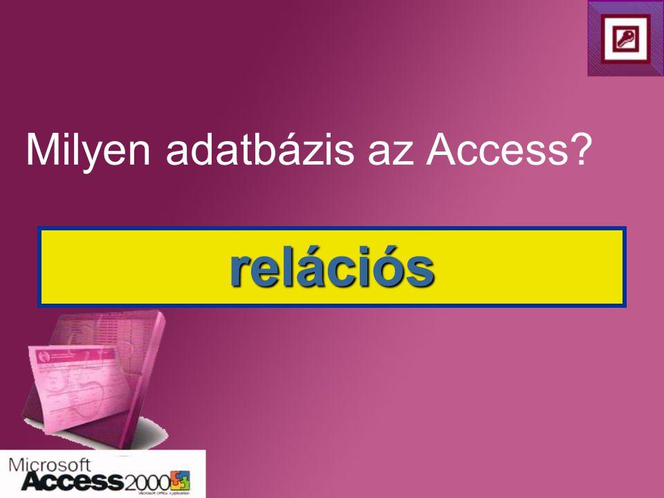 Milyen adatbázis az Access? relációs