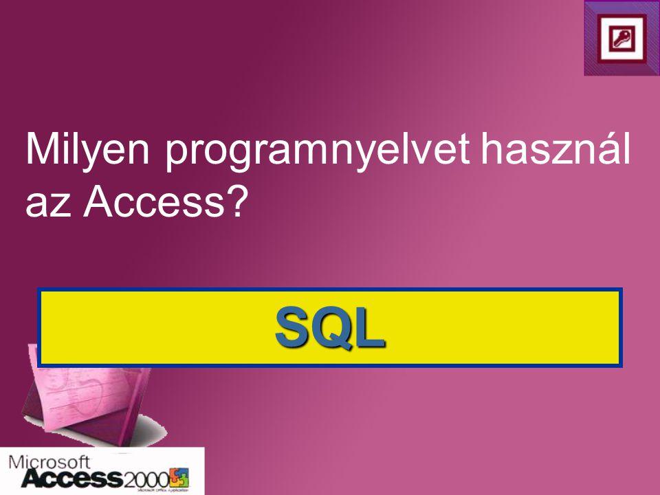 Milyen programnyelvet használ az Access? SQL