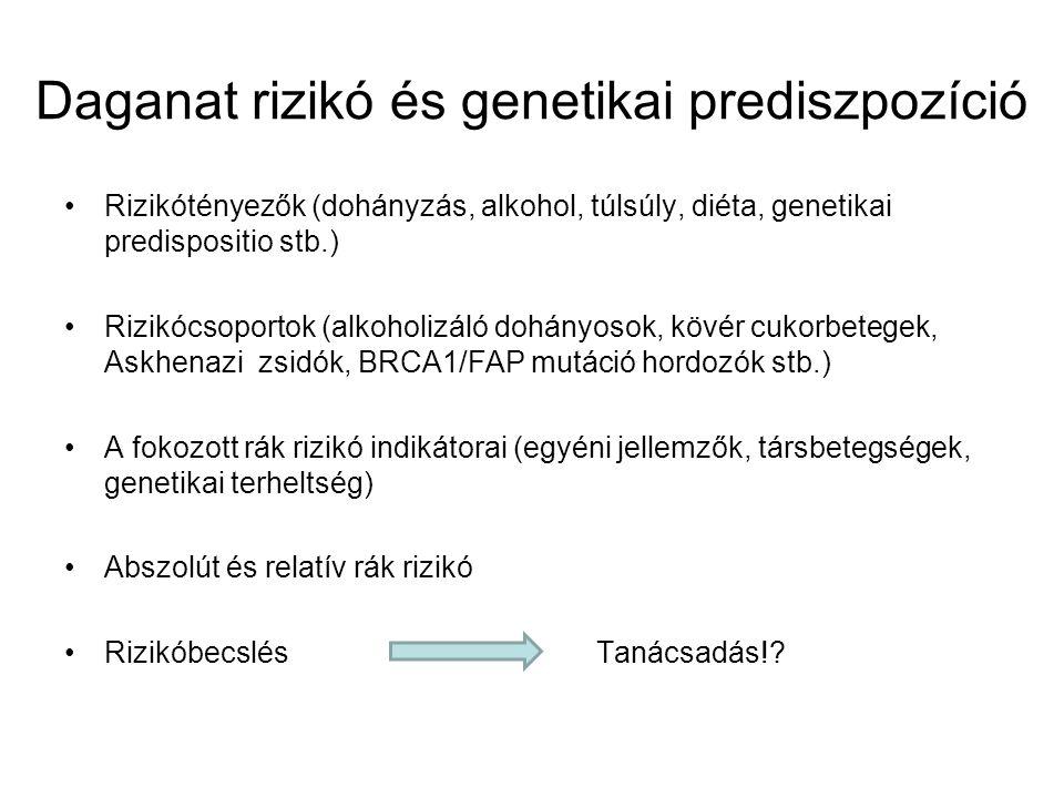 Daganat rizikó és genetikai prediszpozíció Rizikótényezők (dohányzás, alkohol, túlsúly, diéta, genetikai predispositio stb.) Rizikócsoportok (alkoholi