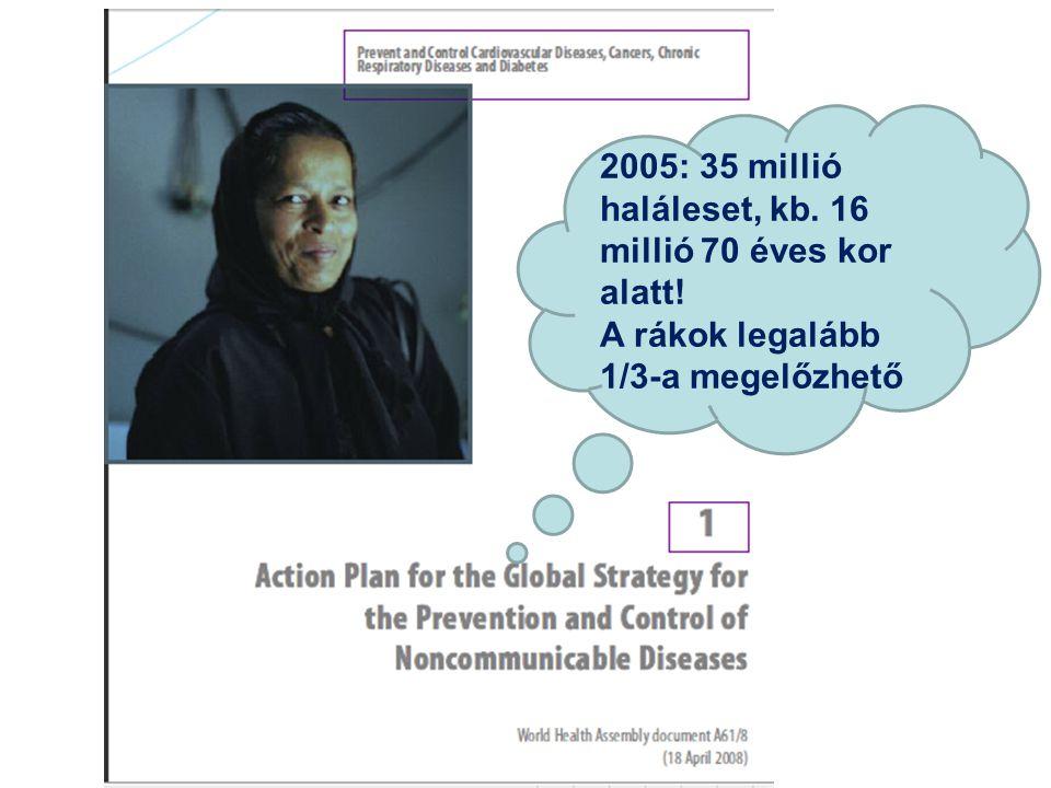 2005: 35 millió haláleset, kb. 16 millió 70 éves kor alatt! A rákok legalább 1/3-a megelőzhető