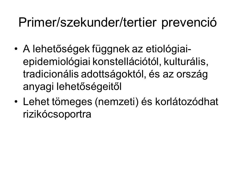 Primer/szekunder/tertier prevenció A lehetőségek függnek az etiológiai- epidemiológiai konstellációtól, kulturális, tradicionális adottságoktól, és az