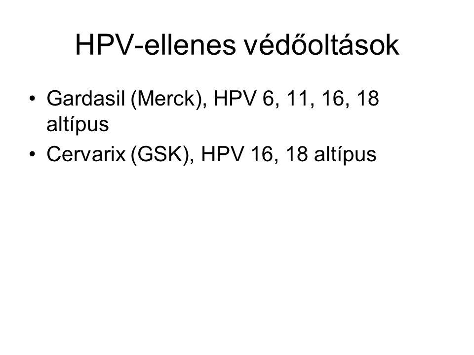 HPV-ellenes védőoltások Gardasil (Merck), HPV 6, 11, 16, 18 altípus Cervarix (GSK), HPV 16, 18 altípus