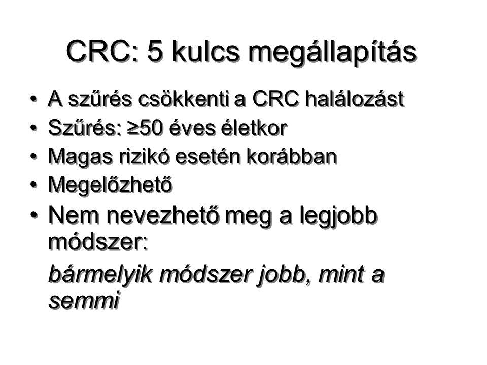 CRC: 5 kulcs megállapítás A szűrés csökkenti a CRC halálozást Szűrés: ≥50 éves életkor Magas rizikó esetén korábban Megelőzhető Nem nevezhető meg a le
