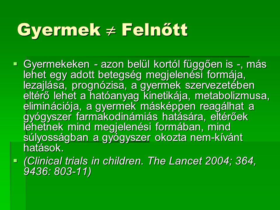 Gyermek  Felnőtt  Gyermekeken - azon belül kortól függően is -, más lehet egy adott betegség megjelenési formája, lezajlása, prognózisa, a gyermek szervezetében eltérő lehet a hatóanyag kinetikája, metabolizmusa, eliminációja, a gyermek másképpen reagálhat a gyógyszer farmakodinámiás hatására, eltérőek lehetnek mind megjelenési formában, mind súlyosságban a gyógyszer okozta nem-kívánt hatások.